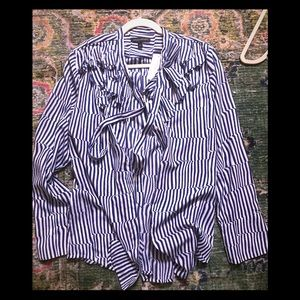 Banana Republic striped pussybow blouse